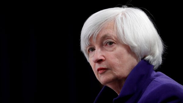 U.S. outgoing Federal Reserve Chair Janet Yellen holds a news conference after a two-day Federal Open Market Committee (FOMC) meeting in Washington, U.S. December 13, 2017 - Sputnik International