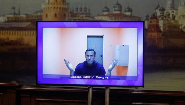 Russian opposition leader Alexey Navalny is seen on a screen via a video link during a court hearing to consider an appeal on his arrest outside Moscow, Russia 28 January 2021. - Sputnik International