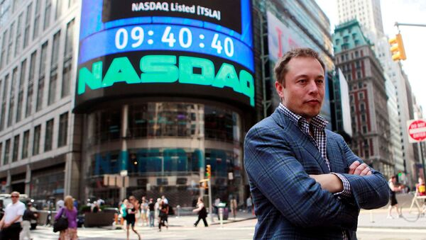 CEO of Tesla Motors Elon Musk poses during a television interview after his company's initial public offering at the NASDAQ market in New York, June 29, 2010. - Sputnik International