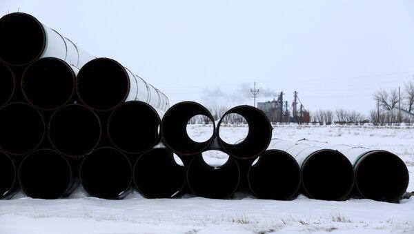 A depot used to store pipes for the planned Keystone XL oil pipeline is seen in Gascoyne, North Dakota, January 25, 2017.   - Sputnik International