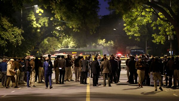 Security officials are seen at the site of an explosion near the Israeli embassy in New Delhi, India, January 29, 2021. - Sputnik International
