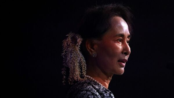 Myanmar's State Counsellor Aung San Suu Kyi speaks at the ASEAN Business and Investment Summit in Singapore, November 12, 2018.  - Sputnik International