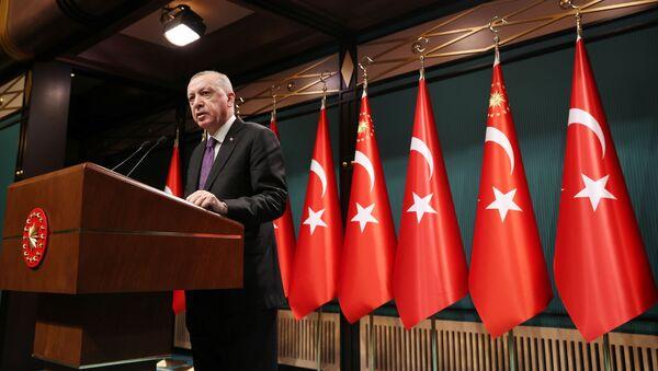 Turkish President Tayyip Erdogan speaks during a news conference following a cabinet meetingin Ankara, Turkey February 1, 2021. - Sputnik International