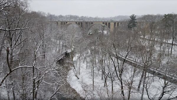 Image of the Taft Bridge in Washington, DC, captures snow-covered greenery in Rock Creek Park as a massive snowstorm envelops much of the US East Coast. - Sputnik International