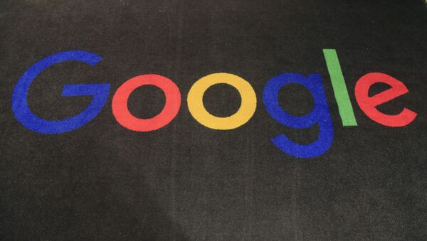 In this Nov. 18, 2019, file photo, the logo of Google is displayed on a carpet at the entrance hall of Google France in Paris. - Sputnik International
