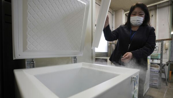 A local health staff shows a special freezer for COVID-19 vaccinations at Tokyo's Sumida ward office Friday, Jan. 22, 2021. Japan is accelerating preparations for COVID-19 vaccinations in hopes of starting them in late February, but uncertainty is growing as the country faces vaccine-shy public, slow approval process and bureaucratic roadblocks, casting a doubt if Tokyo Olympic this summer is possible. - Sputnik International