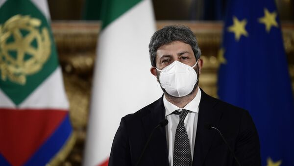 President of the Lower Chamber Roberto Fico leaves after reporting the outcome of the meetings he was mediating to find an agreement for a new government to Italian President Sergio Mattarella at the Quirinale presidential palace, in Rome, Tuesday, Feb. 2, 2021. - Sputnik International