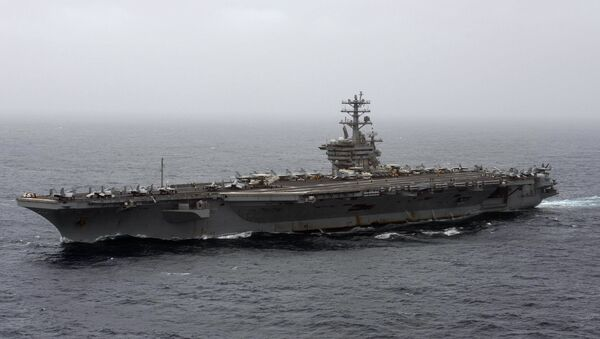 In this Sept. 7, 2020, file photo released by the U.S. Navy, the aircraft carrier USS Nimitz transits the Arabian Sea. - Sputnik International