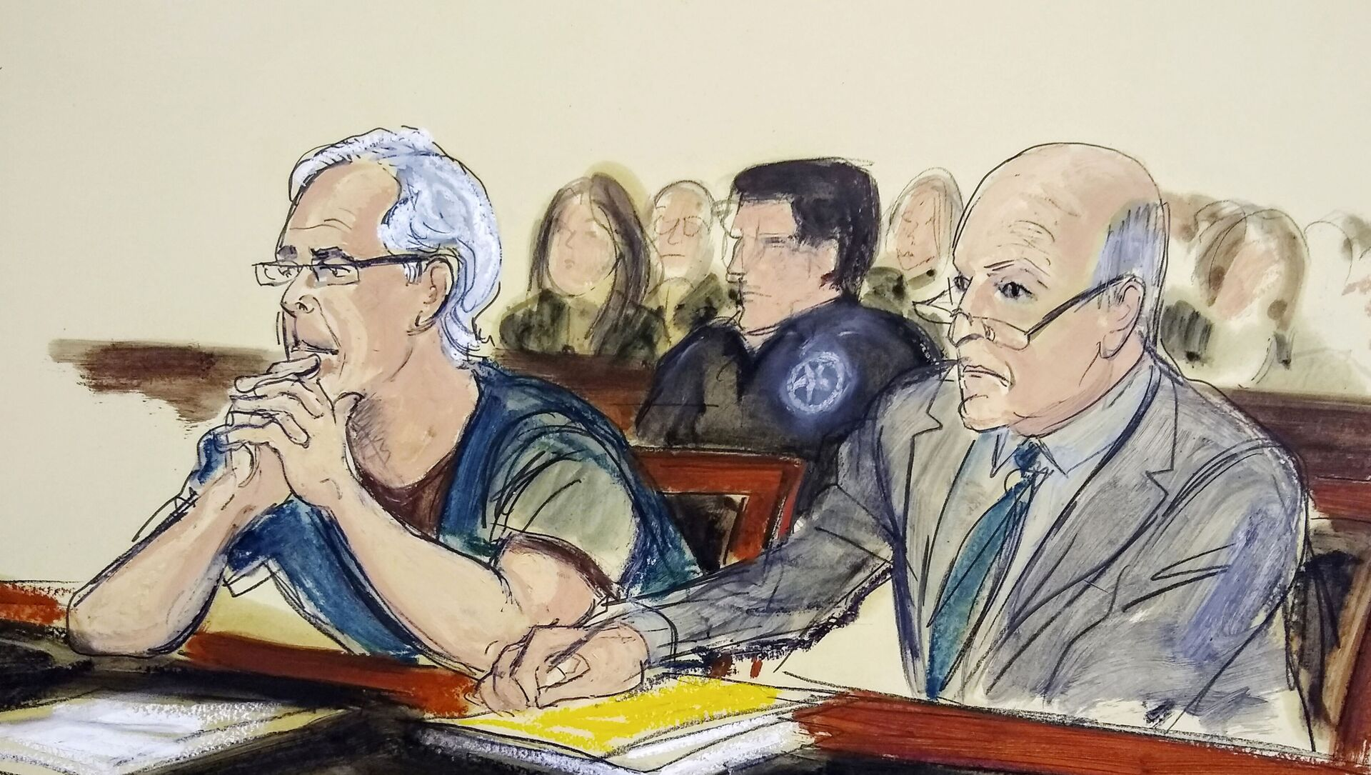 In this July 15, 2019 courtroom artist's sketch, defendant Jeffrey Epstein, left, and his attorney Martin Weinberg listen during a bail hearing in federal court, in New York - Sputnik International, 1920, 26.07.2021