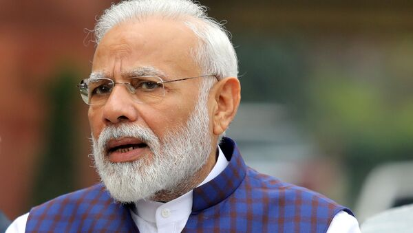 India's Prime Minister Narendra Modi speaks to the media inside the parliament premises on the first day of the winter session in New Delhi, India - Sputnik International