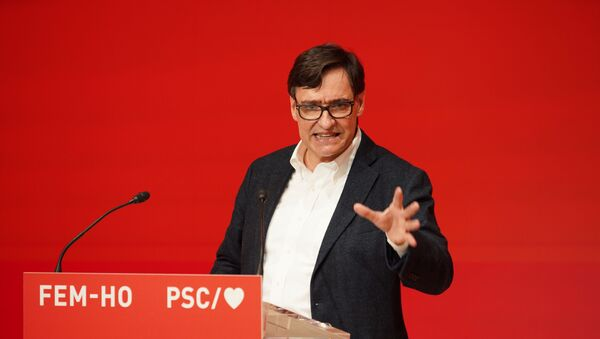 Candidate for the regional government of Catalonia from the Socialist Party of Catalonia (PSC) Salvador Illa, takes part in a meeting ahead of the Catalan elections on February 14, during the coronavirus disease (COVID-19) outbreak, in Barcelona, Spain, January 28, 2021.  - Sputnik International