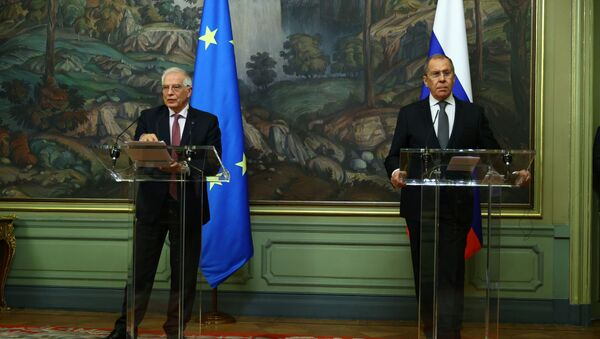 Russia's Foreign Minister Lavrov and EU foreign policy chief Borrell attend a news conference in Moscow - Sputnik International