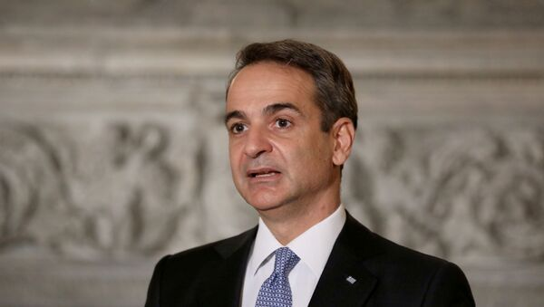 Greek Prime Minister Kyriakos Mitsotakis speaks during a joint news conference with Egyptian President Abdel Fattah al-Sisi at Maximos Mansion in Athens, Greece, November 11, 2020. - Sputnik International