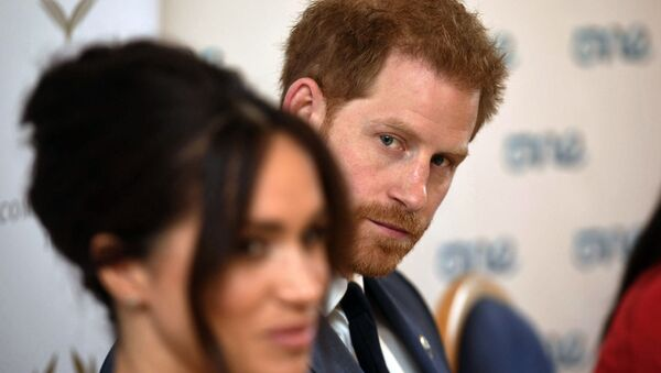 Britain's Prince Harry and Meghan Duchess of Sussex attend a roundtable discussion on gender equality at Windsor Castle in Windsor, England, Friday Oct. 25, 2019. - Sputnik International