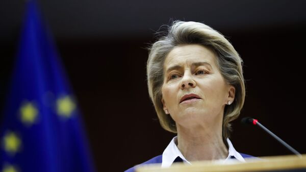 European Commission President Ursula Von Der Leyen addresses European lawmakers during a plenary session on the inauguration of the new President of the United States and the current political situation, at the European Parliament in Brussels, Wednesday, Jan. 20, 2021 - Sputnik International