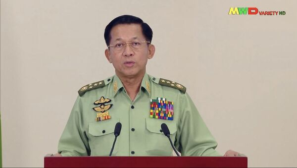 This screengrab provided via AFPTV and taken from a broadcast by Myawaddy TV in Myanmar on February 8, 2021 shows Myanmar military chief General Min Aung Hlaing making an announcement on the nationwide demonstrations being held in protest over the military coup.  - Sputnik International