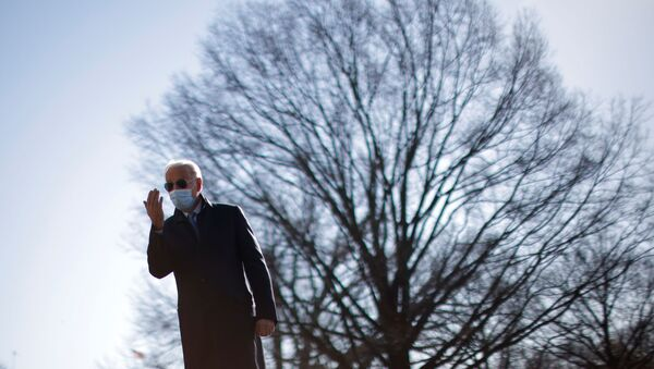 U.S. President Joe Biden reacts to a reporter's question as he arrives on the South Lawn at the White House in Washington, U.S., February 8, 2021 - Sputnik International