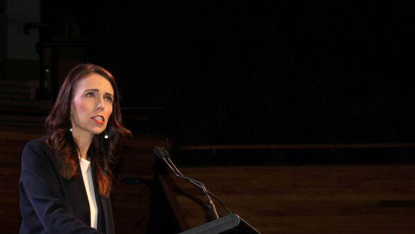 Prime Minister Jacinda Ardern addresses supporters at a Labour Party event in Wellington, New Zealand, October 11, 2020.  - Sputnik International
