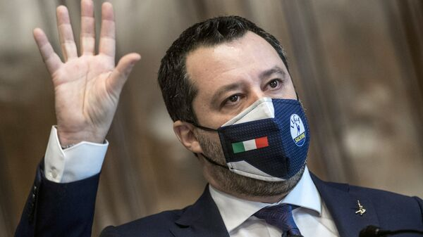 The League's Matteo Salvini addresses the media after meeting with Mario Draghi, at the Chamber of Deputies in Rome, Saturday, Feb. 6, 2021 - Sputnik International