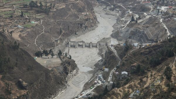 General view of the place where members of National Disaster Response Force (NDRF) conduct a rescue operation, after a part of a glacier broke away, in Tapovan in the northern state of Uttarakhand, India - Sputnik International