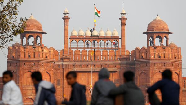 A farmer holds a flag on top of the historic Red Fort, during a protest against farm laws introduced by the government, in Delhi, India. - Sputnik International