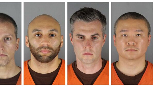 This combination of photos provided by the Hennepin County Sheriff's Office in Minnesota on Wednesday, June 3, 2020, shows Derek Chauvin, from left, J. Alexander Kueng, Thomas Lane and Tou Thao. Chauvin is charged with second-degree murder of George Floyd, a black man who died after being restrained by him and the other Minneapolis police officers on May 25. Kueng, Lane and Thao have been charged with aiding and abetting Chauvin.  - Sputnik International