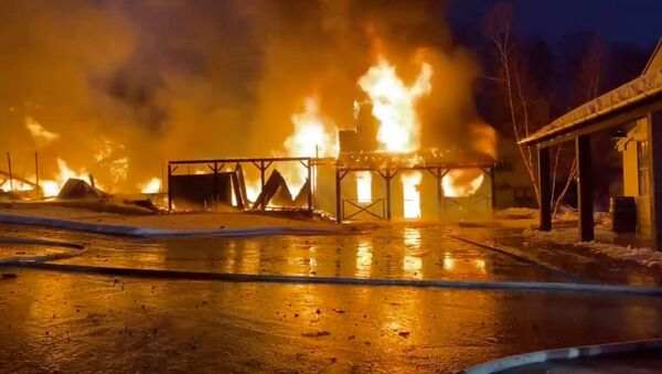Screenshot captures part of the massive blaze that erupted at the Hole in the Wall Gang Camp in Ashford, Connecticut, on February 12, 2020. The camp was founded in 1988 by the late actor Paul Newman. - Sputnik International