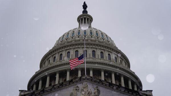 Snow falls at the U.S. Capitol on the third day of senate impeachment hearings against former U.S. president Donald Trump in Washington, U.S. February 11, 2021 - Sputnik International