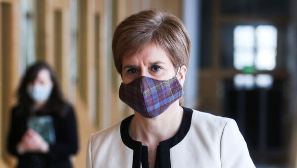 Scotland's First Minister Nicola Sturgeon arrives for the First Minister's Questions at the Scottish Parliament in Holyrood. - Sputnik International