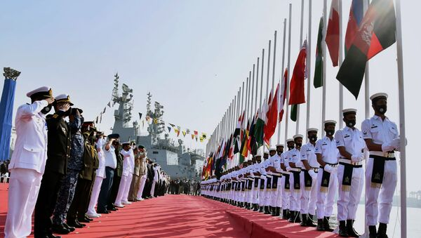 In this photo released by Pakistan Navy shows, military officials from differences countries salute during a flag hosting ceremony for multinational military exercise Aman or Peace, in Karachi, Pakistan, Friday, Feb. 12, 2021. Pakistan's Navy kicked off a five-day multinational military exercise in the Arabian Sea on Friday as part of Islamabad's years-long effort to bring security to the area, it said, although as usual regional archrival India was not invited. - Sputnik International