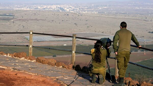 Israeli soldiers look towards Syria across the border from Mount Bental before a visit by U.S. Secretary of State Mike Pompeo and Israeli Foreign Minister Gabi Ashkenazi in the Israeli-occupied Golan Heights November 19, 2020 - Sputnik International