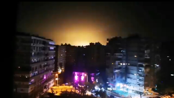 Screenshot from the video allegedly showing the moment of the Israeli aggression in the vicinity of Damascus, 15 February 2020 - Sputnik International