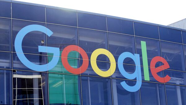 In this 24 September 2019 file photo, the Google logo hangs aloft at the business's campus in Mountain View, California, US. Google is formally resisting antitrust claims brought against it by the Justice Department two months ago. - Sputnik International