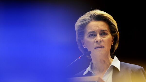 European Commission President Ursula von der Leyen speaks during a debate on the united EU approach to COVID-19 vaccinations at the European Parliament in Brussels, Wednesday, Feb. 10, 2021 - Sputnik International