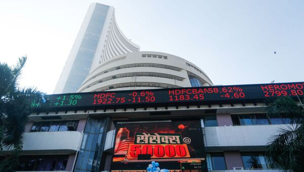 A general view of the Bombay Stock Exchange (BSE), after Sensex surpassed the 50,000 level for the first time, in Mumbai, India, January 21, 2021. REUTERS/Francis Mascarenhas - Sputnik International