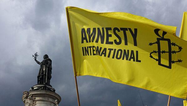 Demonstrators wave Amnesty International flag during a protest in solidarity with migrants at Place de la Republique in Paris on September 5, 2015 - Sputnik International