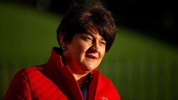 Northern Ireland's First Minister Arlene Foster answers questions during a television interview outside the Stormont Parliament building in Belfast, Northern Ireland, 30 December 2020. - Sputnik International