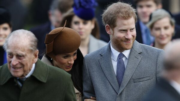 Britain's Prince Philip, Duke of Edinburgh, US actress and fiancee of Britain's Prince Harry Meghan Markle and Britain's Prince Harry arrive to attend the Royal Family's traditional Christmas Day church service at St Mary Magdalene Church in Sandringham, Norfolk, eastern England, on December 25, 2017. - Sputnik International
