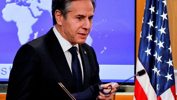 U.S. Secretary of State Antony Blinken begins his first press briefing at the State Department in Washington, U.S., January 27, 2021. - Sputnik International