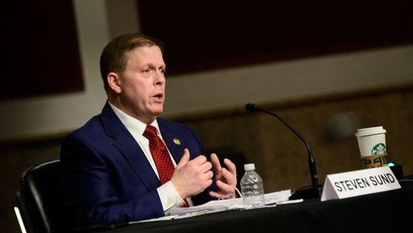 Former U.S. Capitol Police Chief Steven Sund testifies in a Senate Homeland Security and Governmental Affairs and Senate Rules and Administration committees joint hearing on Capitol Hill, Washington, U.S. February 23, 2021, to examine the January 6th attack on the Capitol. - Sputnik International