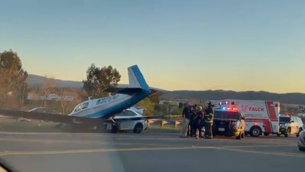 Screenshot of a video showing the aftermath of a small plane crashing into a car on an interstate in Livermore, California, 23 February 2020 - Sputnik International
