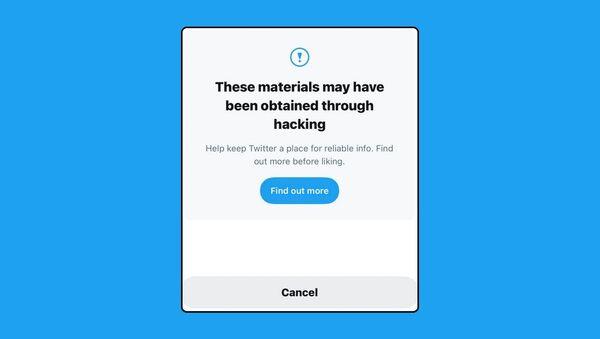 Twitter warning over allegedly hacked material - Sputnik International
