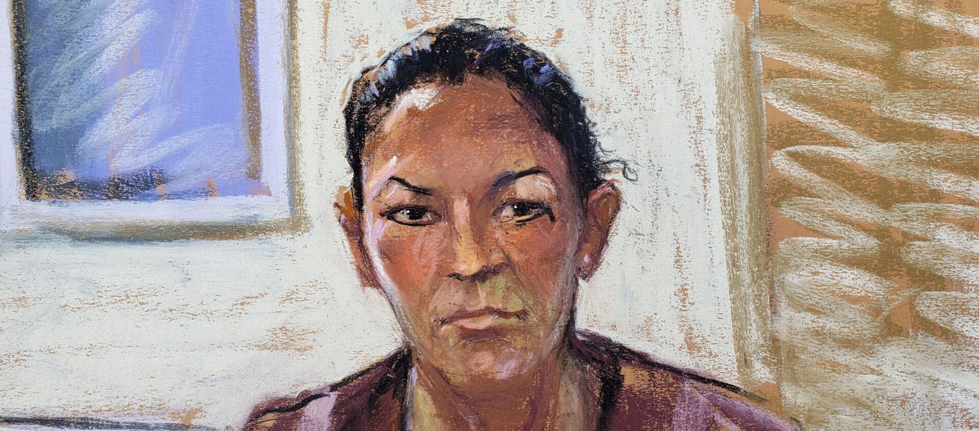 Ghislaine Maxwell appears via video link during her arraignment hearing, where she was denied bail for her role aiding Jeffrey Epstein to recruit and eventually abuse underage girls, in Manhattan Federal Court, in the Manhattan borough of New York City, 14 July 2020 in this courtroom sketch - Sputnik International, 1920, 04.04.2021