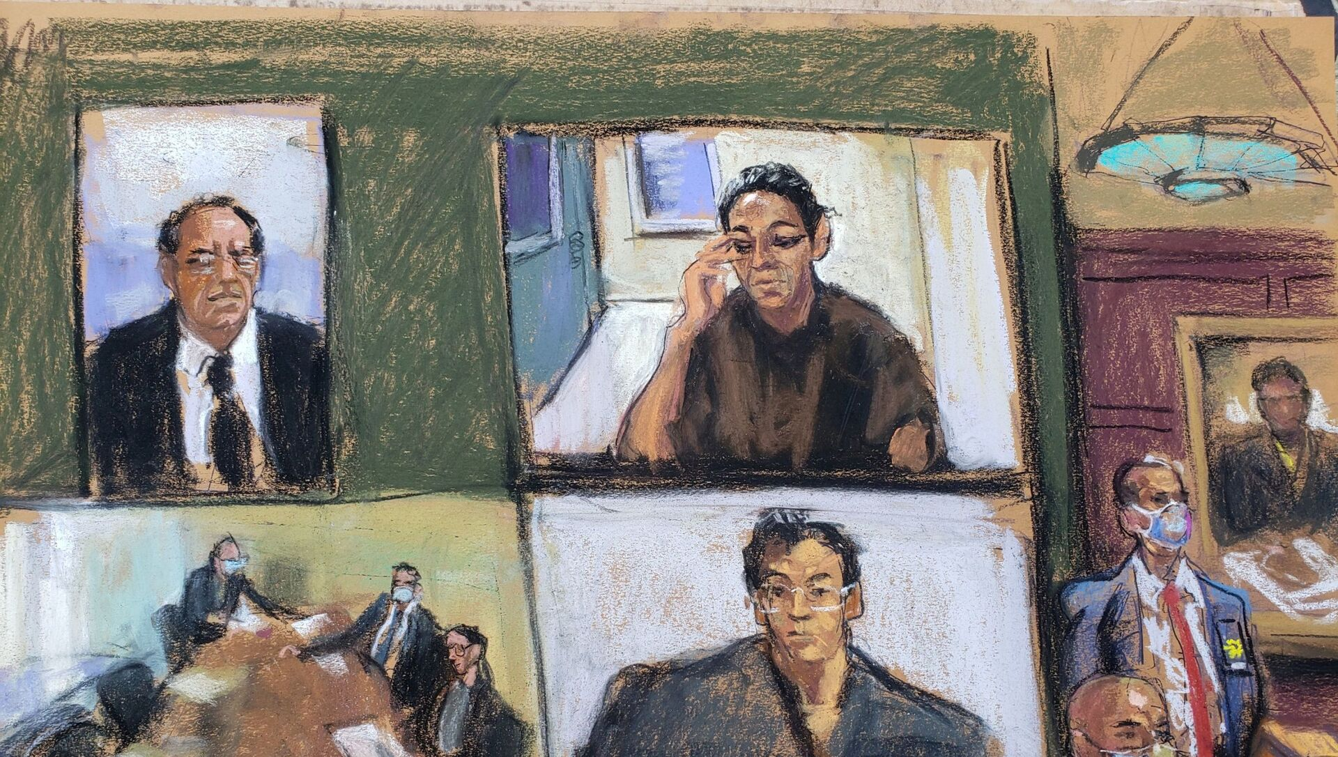 Ghislaine Maxwell appears via video link during her arraignment hearing where she was denied bail for her role aiding Jeffrey Epstein to recruit and eventually abuse of minor girls, in Manhattan Federal Court, in the Manhattan borough of New York City, New York, U.S. July 14, 2020 in this courtroom sketch - Sputnik International, 1920, 30.03.2021