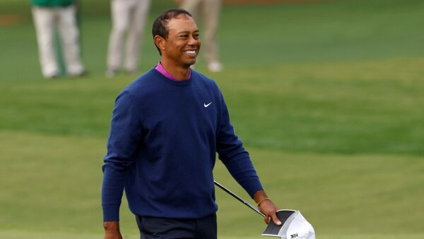 Golf - The Masters - Augusta National Golf Club - Augusta, Georgia, U.S. - November 14, 2020 Tiger woods of the U.S. reacts after completing the second round - Sputnik International