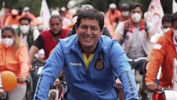 Ecuadorian-presidential-candidate-Andres-Arauz-cycling-in-Ecuador - Sputnik International