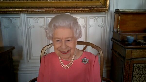 Britain's Queen Elizabeth speaks via video call to health leaders delivering the COVID-19 vaccine across England, Scotland, Wales and Northern Ireland, London, Britain February 25, 2021 - Sputnik International
