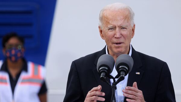 U.S. President Joe Biden speaks after touring a Federal Emergency Management Agency (FEMA) vaccination facility for the coronavirus disease (COVID-19) at NRG Stadium in Houston, Texas, U.S., February 26, 2021 - Sputnik International