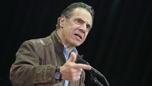 In this Wednesday, Feb. 24, 2021, file photo, New York Gov. Andrew Cuomo speaks during a press conference before the opening of a mass COVID-19 vaccination site in the Queens borough of New York. - Sputnik International