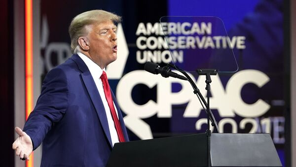 Former President Donald Trump speaks at the Conservative Political Action Conference (CPAC), Sunday, Feb. 28, 2021, in Orlando, Fla. - Sputnik International